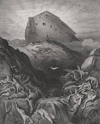 The Dove Sent Forth From The Ark Print by Gustave Dore