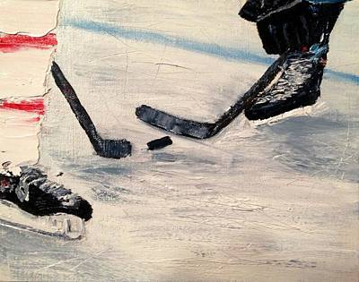 Shinny Hockey Painting - The Draw by Desmond Raymond