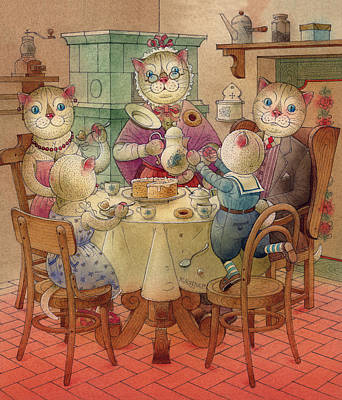 Breakfast Drawing - The Dream Cat 08 by Kestutis Kasparavicius