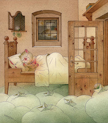 Night Drawing - The Dream Cat 10 by Kestutis Kasparavicius