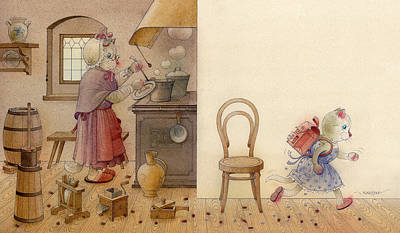 Breakfast Drawing - The Dream Cat 12 by Kestutis Kasparavicius