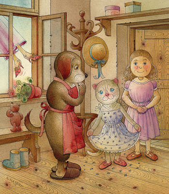 Red Drawing - The Dream Cat 19 by Kestutis Kasparavicius