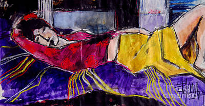 Blouse Mixed Media - The Dream - Pia #4 - Figure Series by Mona Edulesco