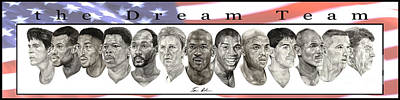 Larry Bird Painting - the Dream Team by Tamir Barkan