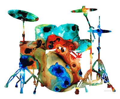 The Drums - Music Art By Sharon Cummings Print by Sharon Cummings