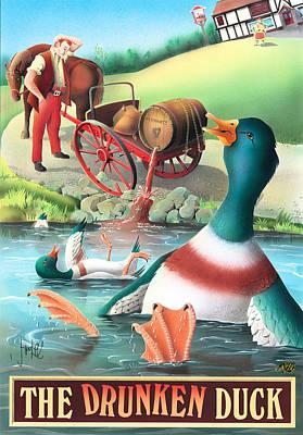 Ducks Painting - The Drunken Duck by Peter Green