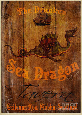 Caves Digital Art - The Drunken Sea Dragon Pub Sign by Cinema Photography