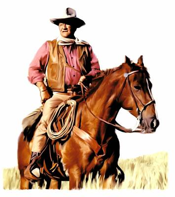 Movie Star Drawing - The Duke  John Wayne by Iconic Images Art Gallery David Pucciarelli