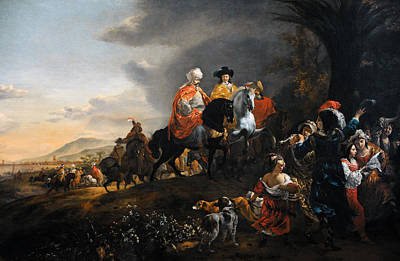 The Dutch Ambassador On His Way To Isfahan, C. 1653-1659, By Jan Baptist Weenix 1621-c.1659 Print by Bridgeman Images