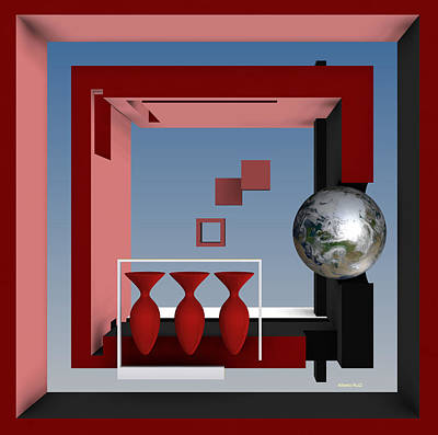Square Digital Art - The Earth And Three Red Vases by Alberto  RuiZ