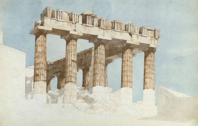 Athens Ruins Photograph - The East End And South Side Of The Parthenon, C.1813 Wc & Graphite On Paper by John Foster