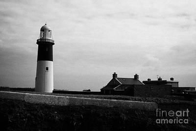 The East Light Lighthouse And Buildings Altacarry Altacorry Head Rathlin Island Against Grey Cloudy  Print by Joe Fox