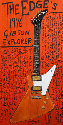 U2 Painting - The Edge Gibson Explorer by Karl Haglund