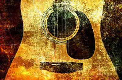 Bridge Digital Art - The Edgy Abstract Guitar by Andee Design