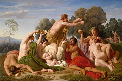 Education Painting - The Education Of Jupiter On Mount Ida In Crete by Hermann Steinfurth