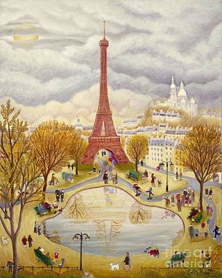 Dog In Lake Painting - The Eiffel Tower In Autumn by Colette Raker