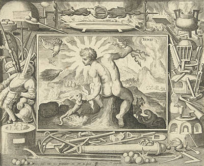 Salamanders Drawing - The Element Of Fire As A Young Man With Lightning by Nicolaes De Bruyn