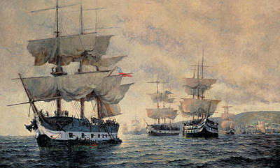 Peru Painting - The Embarkation Of The Liberating Expedition Of Peru On The 20th August 1820 by Antonio A Abel