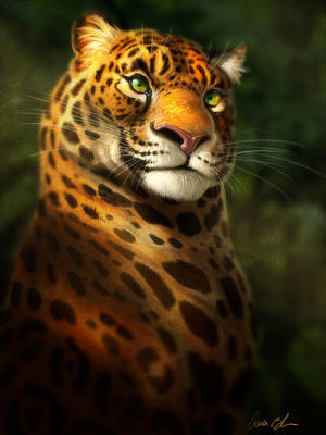 Jaguar Digital Art - The Emerald Kingdom by Aaron Blaise