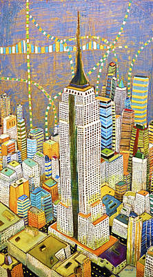 Nyc Mixed Media - the Empire of Manhattan by Habib Ayat