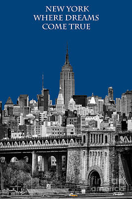 The Empire State Building Pantone Blue Print by John Farnan