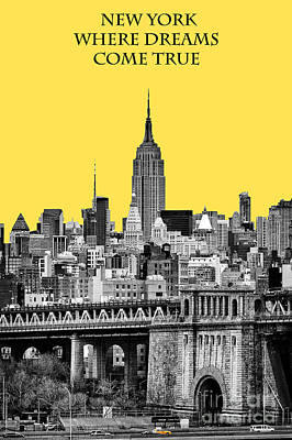 The Empire State Building Pantone Yellow Print by John Farnan
