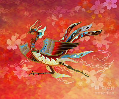 Hawks Mixed Media - The Empress - Flight Of Phoenix - Red Version by Bedros Awak