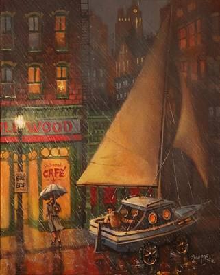 Rainy Night Painting - The Enchanted Voyage by Tom Shropshire