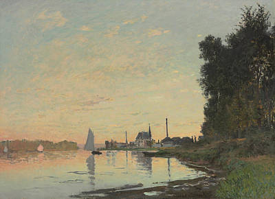 Reflecting Water Painting - The End Of The Afternoon by Claude Monet