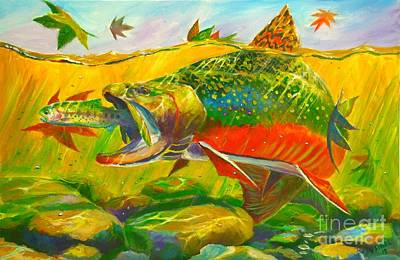 Bass Fishing Painting - The End Of The Rainbow  by Yusniel Santos