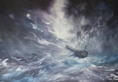 Of Pirate Ship Painting - The Endeavour On Stormy Seas by Jean Walker