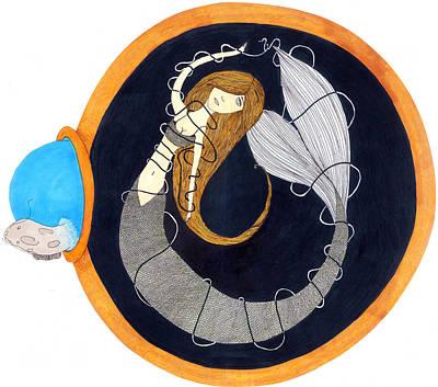 Catfish Painting - The Entangled Mermaid by Pamela Gebler