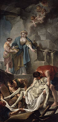 The Entombment Of St. Andrew, 1760 Oil On Canvas Print by Jean Baptiste Deshays de Colleville