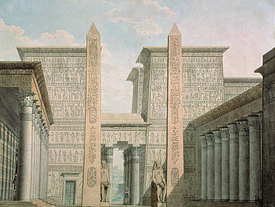The Entrance To The Temple, Act I Scene IIi, Set Design For The Magic Flute By Wolfgang Amadeus Print by German School
