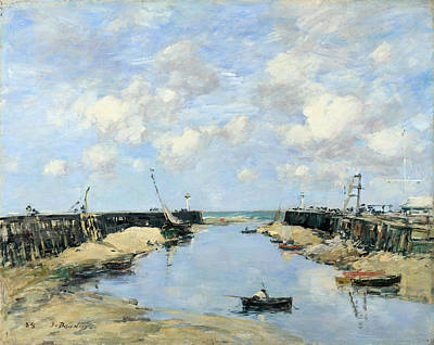 Eugene Boudin Painting - The Entrance To Trouville Harbour by Eugene Boudin