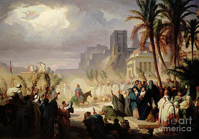 The Entry Of Christ Into Jerusalem Print by Louis Felix Leullier