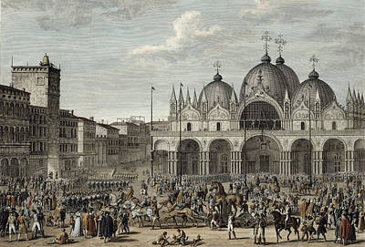 Bronze Horse Drawing - The Entry Of The French Into Venice by Antoine Charles Horace Vernet