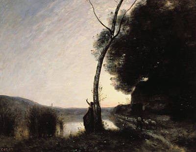 Stargazing Painting - The Evening Star by Jean Baptiste Camille Corot