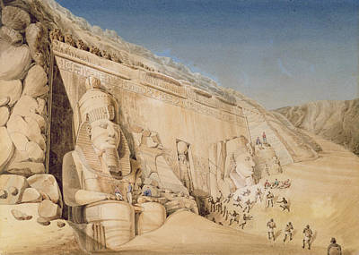 Hieroglyphs Drawing - The Excavation Of The Great Temple by Louis M.A. Linant de Bellefonds