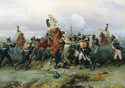 The Exploit Of The Mounted Regiment In The Battle Of Austerlitz, 1884 Oil On Canvas Print by Bogdan Willewalde