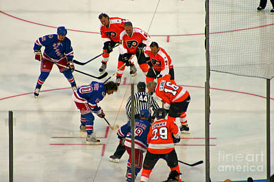 Philadelphia Flyers Photograph - The Faceoff by David Rucker