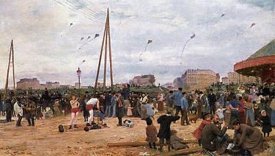 The Fairgrounds At Porte De Clignancourt Paris Print by Victor Gabriel Gilbert