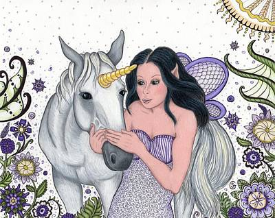 Lavender Drawing - The Fairy And Her Unicorn -- In The Magical Garden by Sherry Goeben