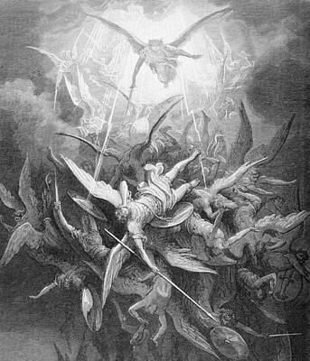 The Fall Of The Rebel Angels Print by Gustave Dore