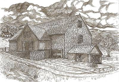 Sepia Ink Drawing - The Family Farm - Sepia Ink by Carol Wisniewski