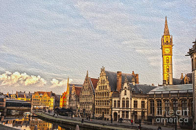 Cloudscape Digital Art - The Famous Graslei In Ghent At Sunset by Patricia Hofmeester
