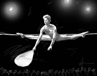Tightrope Drawing - The Fan by H James Hoff