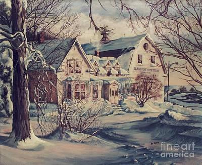 New England Winter Scene Painting - The Farm by Joy Nichols