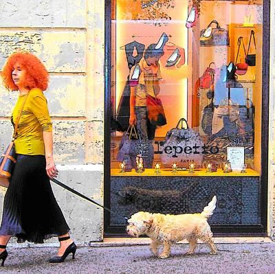 Dog Walking Digital Art - The Fashionable Parisian Lady by Jan Matson