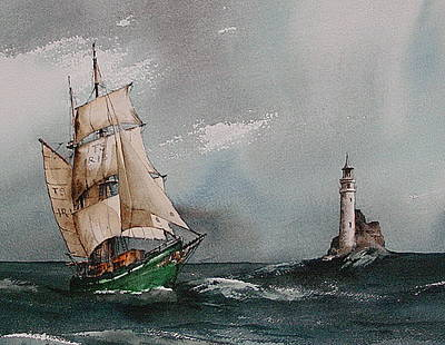The Fastnet Lighthouse West Cork Print by Val Byrne
